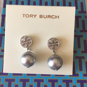 Tory Burch silver chrome pearl earrings